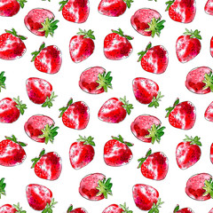 Seamless pattern of a strawberry. Image of a summer berries. Watercolor hand drawn illustration.White background.