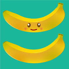 fresh banana fruits with smiley character vector illustration