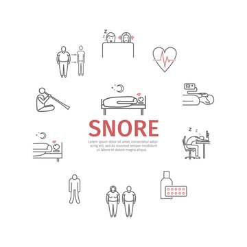 Snore. Line icons set. Vector signs