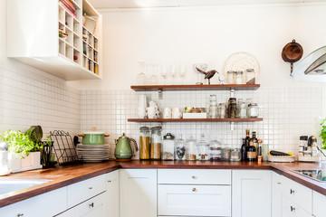 kitchen counter top with kitchen utensils