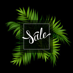 Sale banner with green tropical palm leaves on the black background. White lettering on the summer poster.