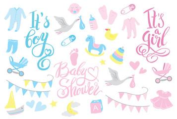 Girl and boy rattle shower invitation, lettering design illustration