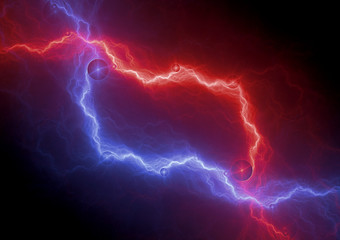 Red and blue lightning bolt, abstract plasma background