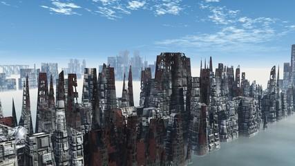 Armageddon in New York 3d render