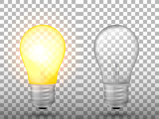 Lighted and switched off light bulb on a transparent background. Vector illustration.