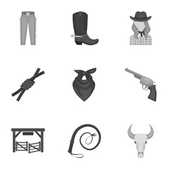 A set of pictures about cowboys. Cowboys on the ranch, horses, weapons, whips.Rodeo icon in set collection on monochrome style vector symbol stock illustration.