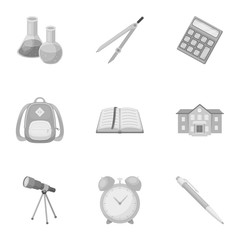 Set of pictures about the school. Study training. Supplies for school.Outfit of the student. School and eduacation icon in set collection on monochrome style vector symbol stock illustration.