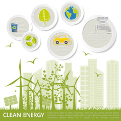 Concept of environmental protection and conservation - windmills, solar batteries, electric cars, clean energy, waste recycling