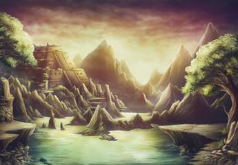 Aztec temple dusk