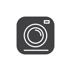 Camera icon vector, filled flat sign, solid pictogram isolated on white. Symbol, logo illustration. Pixel perfect