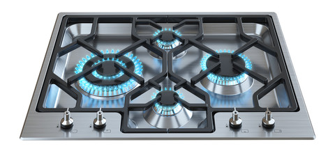 Kitchen stove with burning burners