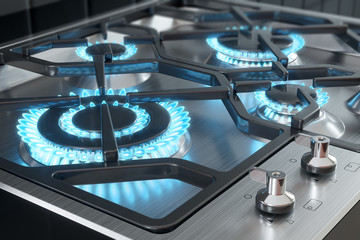 Cooker with burners close-up