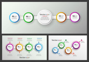 Vector set of colorful infographics template with steps, options. For infographic, banner, web design,presentation. Eps 10