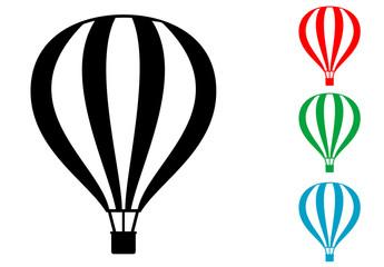 Icono plano globo aerostatico varios colores
