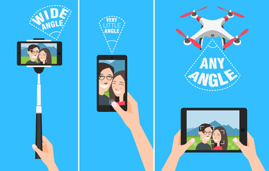 Couple making selfie with drone, selfiestick and using hands. showing different angles and abilities of devices.