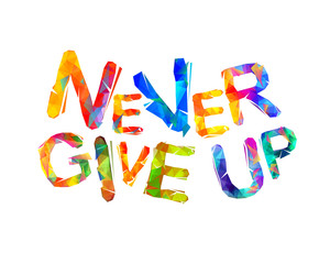 NEVER GIVE UP. Motivation inscription