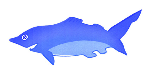 Shark, isolated on white background, gouache
