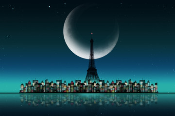 Silhouette of Eiffel tower ans city with night sky background