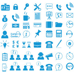 Business Icons set. Office life and symbols. Business figures, bubbles of conversation. Call center and information. Universal website Business and ecology icons. Flat style. Vector illustration.