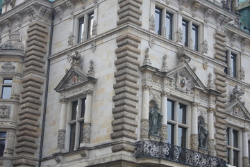 view of details on the famous town hall in Hamburg, Germany.