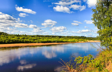 Summer river panorama landscape