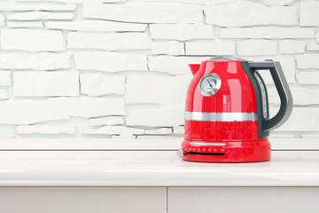 Red kettle in table kitchen room interior