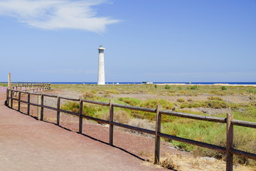 View on the lighthouse and the coast of Atlantic ocean.