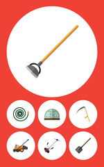 Flat Dacha Set Of Shovel, Hosepipe, Tool And Other Vector Objects. Also Includes Cutter, Scythe, Gardening Elements.