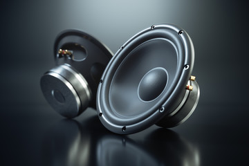 Two sound speakers on black background 3d render