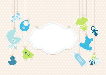 Card Baby Boy Symbols Hanging Cloud Hearts Beige
