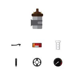 Flat Parts Set Of Combustion, Absorber, Packing And Other Vector Objects. Also Includes Tachometr, Headlight, Joint Elements.