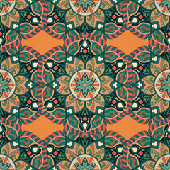 Acrylic Prints Moroccan Tiles Ornate floral seamless texture, endless pattern with vintage mandala elements.