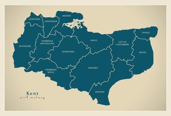 Modern Map - Kent county with labels including Medway UK illustration