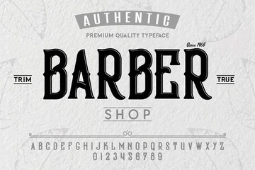 Font. Alphabet. Script. Typeface. Label.Barber typeface. For labels and different type designs
