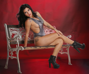 Brunette in silver on a bench on red
