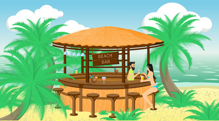 Vector illustration. Bartender offers a drink to a female client in the beach bar on the seaside.