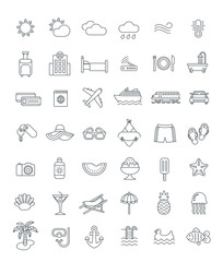 Summer travel thin line icons. Vector flat linear symbols of sea vacation elements. Outline weather pictograms, transport, hotel services, water relax, tropical fruits, beach holidays, swimming suits