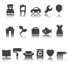 Icons for online store. Vector sign, shadow reflection.
