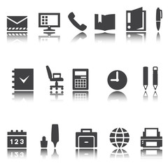 Business, office icons. Vector signs. shadow reflection.