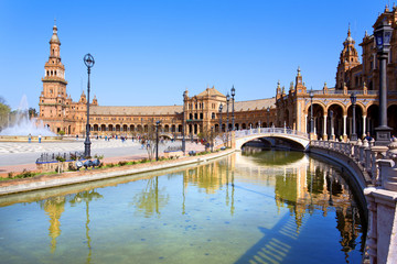 A beautiful view of Spanish Square, Plaza de Espana, in Seville