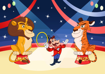 Handler with lion and tiger at circus 2