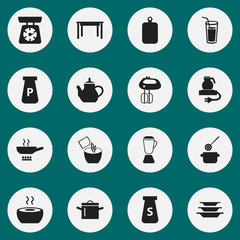 Set Of 16 Editable Cook Icons. Includes Symbols Such As Food Libra, Skimmer, Dishes And More. Can Be Used For Web, Mobile, UI And Infographic Design.