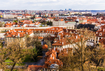 View from above from  the observation platform of the royal castle Hradcany on  the old streets. Area of the Old City. Prague, Czech Republic.