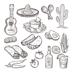 Fast food and other mexican culture elements. Sombrero, guitar, tequila and tacos. Vector hand drawn set