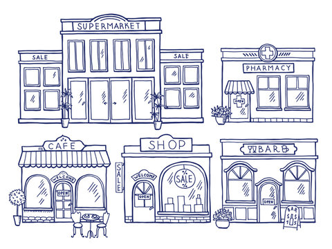 Buildings facade front view. Shop, cafe, mall and pharmacy. Doodle illustrations set