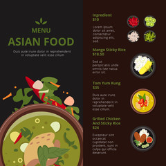 Design template of asian food menu. Illustrations with place for your text. Vector thai products