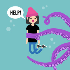 Young screaming female character attacked by octopus / flat editable vector illustration, clip art