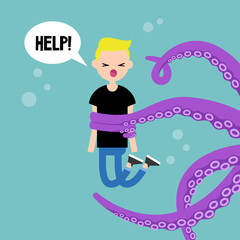 Young screaming character attacked by octopus / flat editable vector illustration, clip art