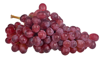 red ripe grapes isolated on white