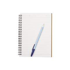 pen on notebook isolated on a white background - clipping paths